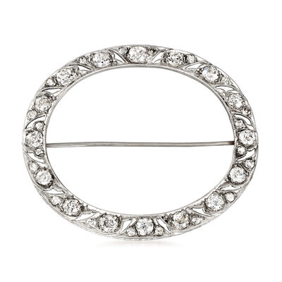 C. 1940 Vintage 2.05 ct. t.w. Diamond Oval Pin in Platinum, , default