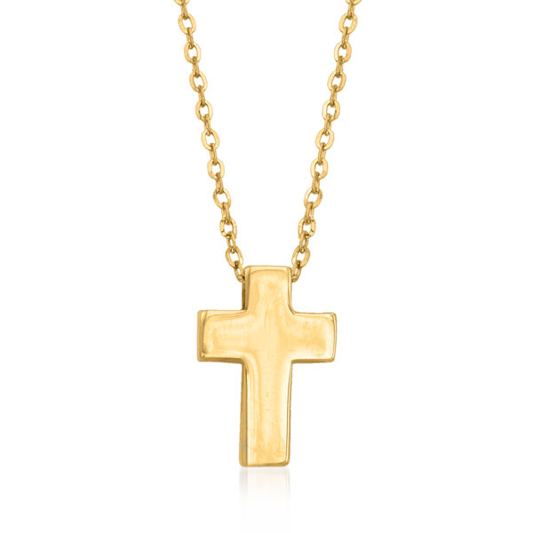 14kt Yellow Gold Cross Pendant Necklace. #893474