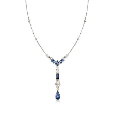 C. 2000 Vintage 3.95 ct. t.w. Sapphire and 1.00 ct. t.w. Diamond Drop Necklace in 14kt White Gold, , default