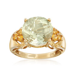 C. 1990 Vintage 5.50 Carat Green Prasiolite and .50 ct. t.w. Citrine Ring in 10kt Yellow Gold, , default
