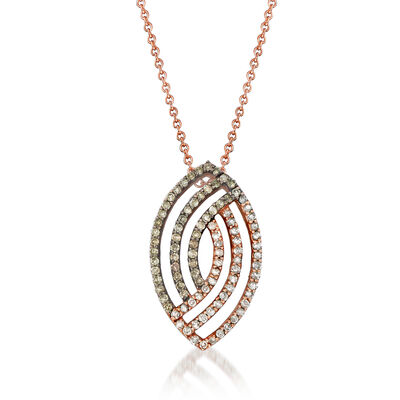 C. 1990 Vintage .50 ct. t.w. Champagne and White Diamond Swirl Pendant Necklace in 10kt Rose Gold, , default