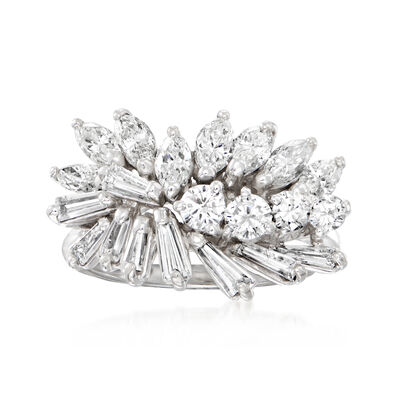 C. 1980 Vintage 2.45 ct. t.w. Diamond Cluster Ring in 18kt White Gold