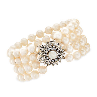 C. 1970 Vintage 7-7.5mm Cultured Pearl Multi-Strand Bracelet with .40 ct. t.w. Diamond Clasp in 14kt White Gold