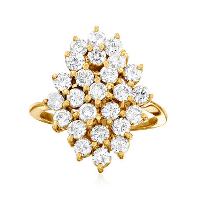 C. 1980 Vintage 2.25 ct. t.w. Diamond Cluster Ring in 14kt Yellow Gold, , default