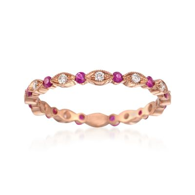 Henri Daussi .26 ct. t.w. Ruby and .15 ct. t.w. Diamond Eternity Band in 18kt Rose Gold