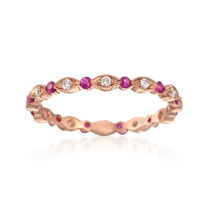 Henri Daussi .26 Carat Total Weight Ruby and .15 Carat Total Weight Diamond Eternity Band in 18-Karat Rose Gold. Size 6.5