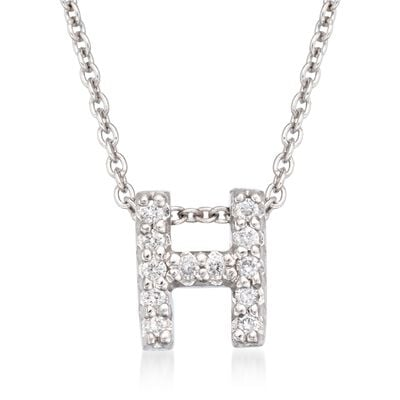 "Roberto Coin ""Love Letter"" Diamond Accent Initial ""H"" Necklace in 18kt White Gold"