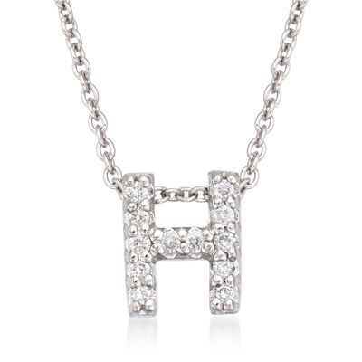 "Roberto Coin ""Love Letter"" Diamond Accent Initial ""H"" Necklace in 18kt White Gold, , default"