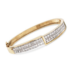 C. 1980 Vintage 1.50 ct. t.w. Diamond Bangle Bracelet in 14kt Yellow Gold, , default
