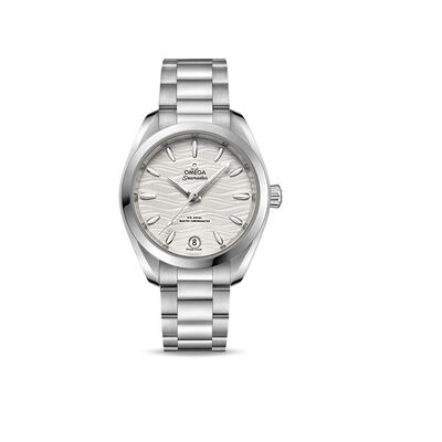 Omega Seamaster Aqua Terra Woman's 34mm Automatic Stainless Steel Watch with Silver Dial