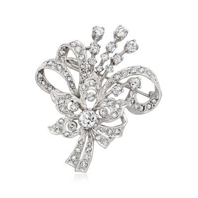 C. 1970 Vintage 2.60 ct. t.w. Diamond Flower and Bow Pin in 14kt White Gold