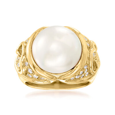 C. 1980 Vintage Marina B. 13mm Cultured Mabe Pearl and .50 ct. t.w. Diamond Ring in 18kt Yellow Gold