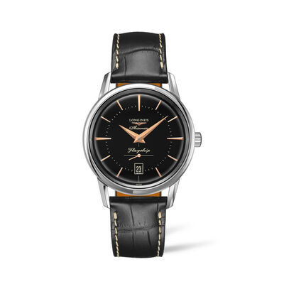 Longines Flagship Men's 38mm Automatic Stainless Steel Watch with Black Leather
