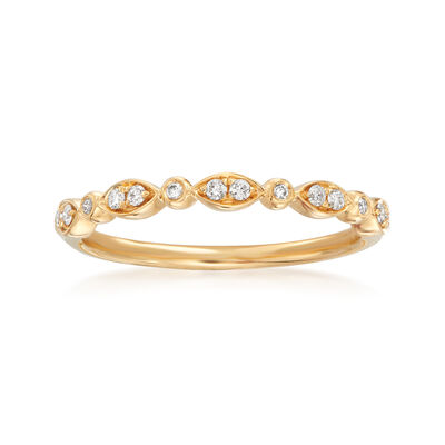 Henri Daussi .11 ct. t.w. Diamond Wedding Ring in 18kt Yellow Gold, , default