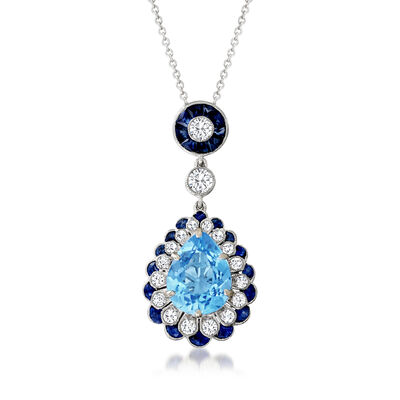 C. 1980 Vintage 3.25 Carat Sky Blue Topaz Pendant Necklace with .80 ct. t.w. Sapphires and .65 ct. t.w. Diamonds in 18kt White Gold