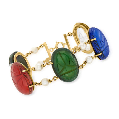 C. 1950 Vintage Multi-Gemstone Scarab Bracelet with Cultured Pearls in 14kt Yellow Gold