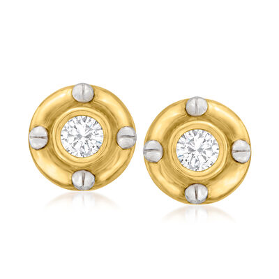 C. 2000 Vintage .70 ct. t.w. CZ Circle Earrings in 14kt Two-Tone Gold