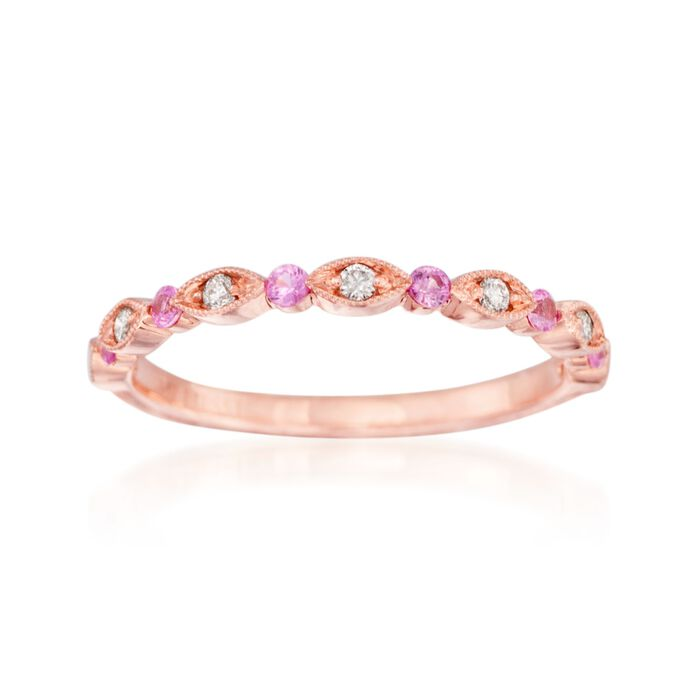 Henri Daussi .14 ct. t.w. Pink Sapphire Wedding Ring with Diamond Accents in 14kt Rose Gold, , default