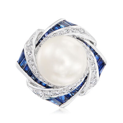 C. 1980 Vintage 14mm Cultured Pearl, 3.26 ct. t.w. Sapphire and .75 ct. t.w. Diamond Ring in Platinum
