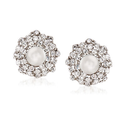 C. 1970 Vintage 9mm Cultured Pearl and 3.80 ct. t.w. Diamond Clip-On Earrings in 14kt White Gold, , default