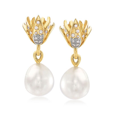 C. 1990 Vintage Assael 11.4x10.5mm Cultured South Sea Pearl and .25 ct. t.w. Diamond Tulip Drop Earrings in 18kt Yellow Gold