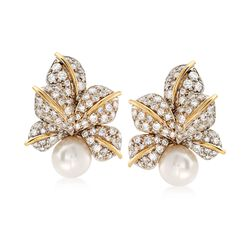 C. 1980 Vintage 10mm Cultured Pearl and 3.00 ct. t.w. Diamond Floral Earrings in 18kt Two-Tone Gold, , default