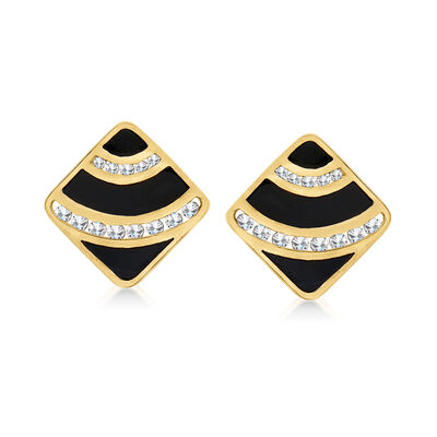 C. 1980 Vintage Black Onyx and 1.05 ct. t.w. Diamond Earrings in 14kt Yellow Gold