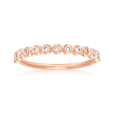 Henri Daussi .21 ct. t.w. Diamond Wedding Ring in 14kt Rose Gold