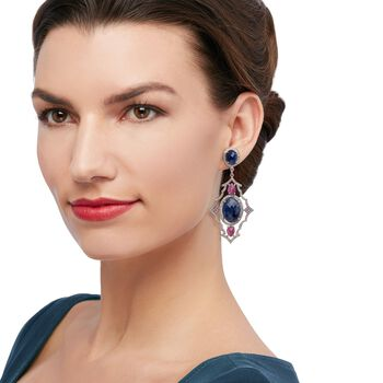 40.80 Carat Total Opaque Pink and Blue Sapphire Drops with 2.95 Carat Total Weight Diamonds in Sterling Silver, , default