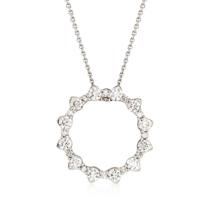 """Roberto Coin .80 ct. t.w. Diamond Open Circle Necklace in 18kt White Gold. 16"""", , default"""