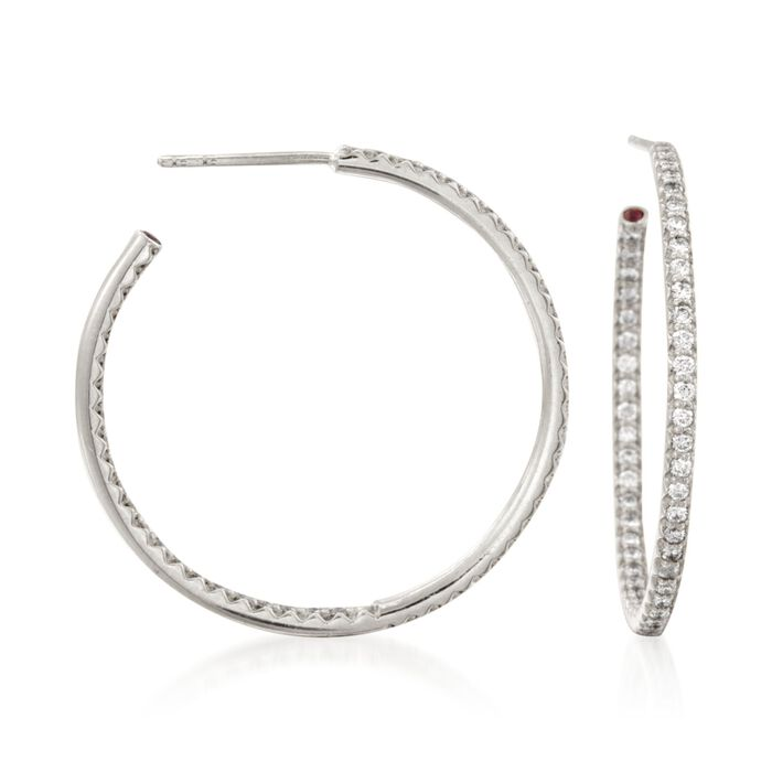 Roberto Coin .68 Carat Total Weight In-And-Out Diamond Hoops in 18-Karat White Gold, , default