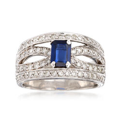 C. 1980 Vintage .85 Carat Sapphire and 1.10 ct. t.w. Diamond Ring in 14kt White Gold, , default