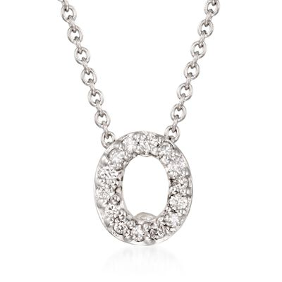 "Roberto Coin ""Love Letter"" Diamond Accent Initial ""O"" Necklace in 18kt White Gold, , default"