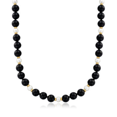 C. 1980 Vintage Tiffany Jewelry Black Onyx and 5.5mm Cultured Pearl Beaded Necklace with 14kt Yellow Gold