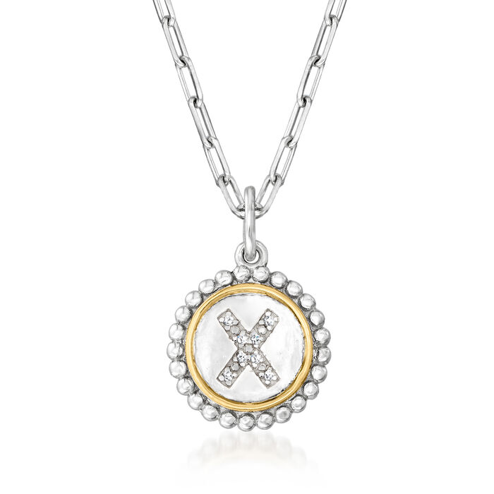"""Phillip Gavriel """"Popcorn"""" Diamond-Accented Single-Initial Pendant Paper Clip Link Necklace in Sterling Silver with 18kt Yellow Gold"""