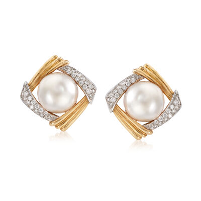C. 1970 Vintage Mabe Pearl and 1.70 ct. t.w. Diamond Earrings in 14kt Yellow Gold, , default