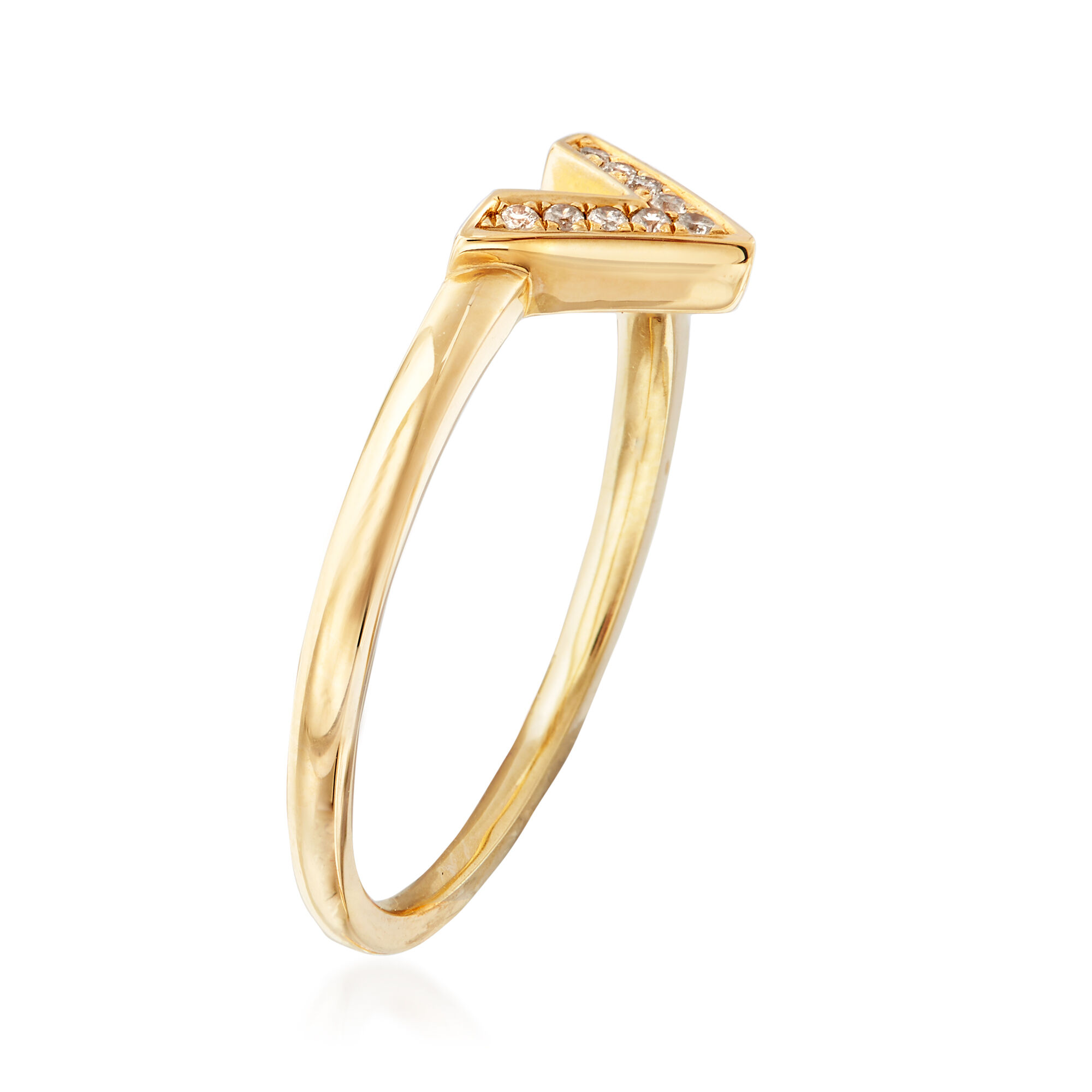 14k Yellow Gold w//Diamond Accent Initial Letter V Ring Size 7