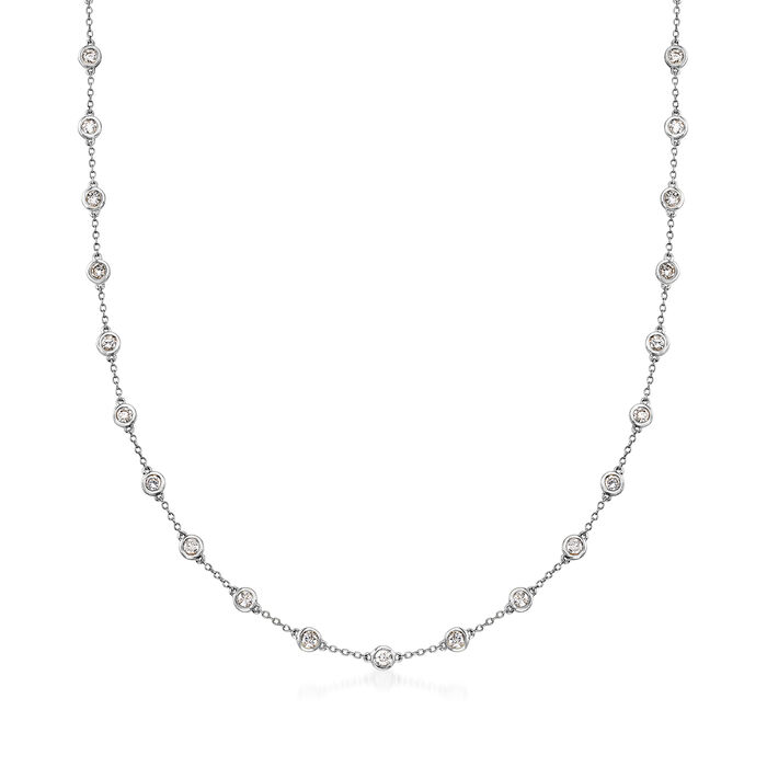 3.00 ct. t.w. Bezel-Set Diamond Station Necklace in 14kt White Gold, , default