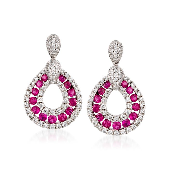 Gregg Ruth .70 Carat Total Weight Ruby and .70 Carat Total Weight Diamond Teardrop Earrings in 18-Karat White Gold, , default