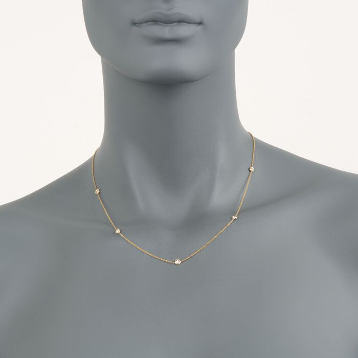 "Roberto Coin .23 Carat Total Weight Diamond Station Necklace in 18-Karat Yellow Gold. 16"", , default"