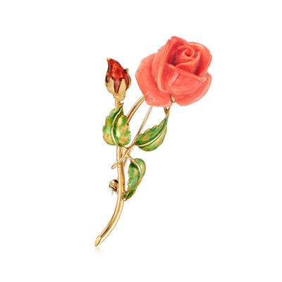 C. 1960 Vintage Coral Rose Pin in 18kt Yellow Gold, , default