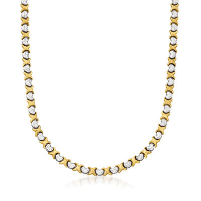 C. 1990 Vintage 10kt Two-Tone Gold X and Heart Necklace