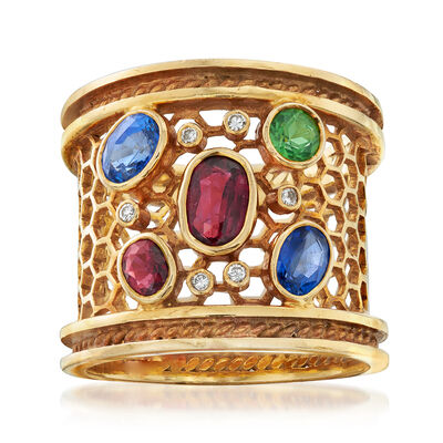 C. 1980 Vintage 1.85 ct. t.w. Multi-Gemstone Ring with Diamond Accents in 18kt Yellow Gold, , default