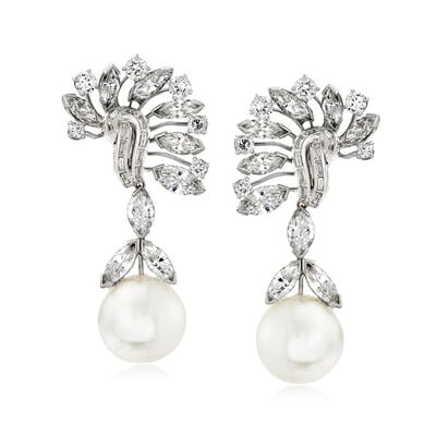 C. 1990 Vintage David Webb 15mm Cultured South Sea Pearl and 12.20 ct. t.w. Diamond Drop Clip-On Earrings in Platinum