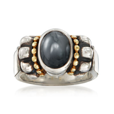 C. 1990 Vintage Hematite Oval Ring in Sterling Silver and 14kt Yellow Gold