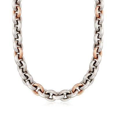 C. 1990 Vintage 14kt Two-Tone Gold Cable-Link Necklace with Black Onyx Accent, , default