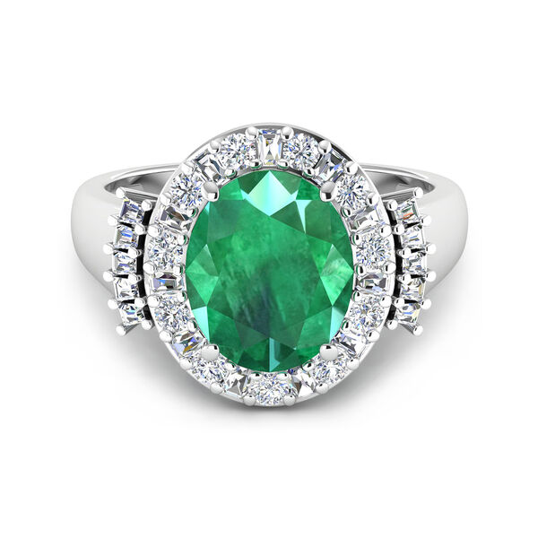 3.10 Carat Emerald Ring with .82 ct. t.w. Diamonds in 14kt White Gold. #D05580