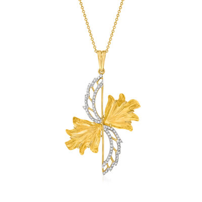 C. 2000 Vintage 10.00 ct. t.w. Citrine and .40 ct. t.w. Diamond Pendant Necklace in 14kt Yellow Gold