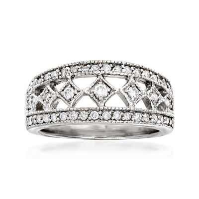 C. 1980 Vintage .65 ct. t.w. Diamond Ring in 14kt White Gold