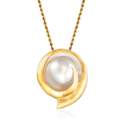 C. 1980 Vintage 25mm Cultured Blister Pearl Pendant Necklace in 14kt Yellow Gold, , default